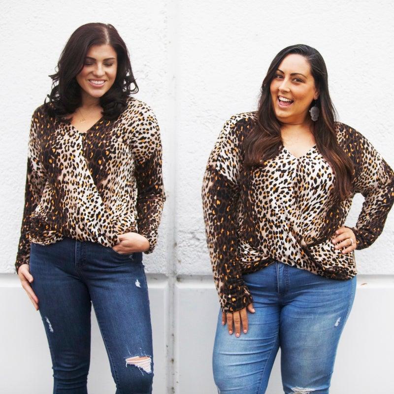 Leopard Faux Wrap Twist Front Long-Sleeve Top - Reg/Plus