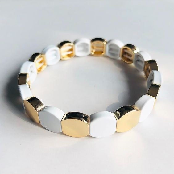 Gold  and White Honeycomb Enamel  Bead Stretch Bracelet