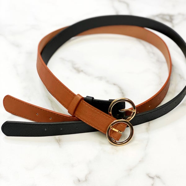 Katie's Fave - Black & Brown Faux-Leather Belt Duo - Reg/Plus