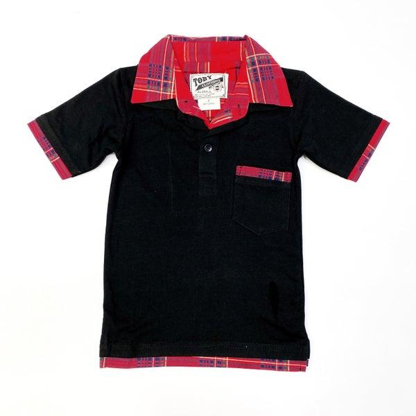 Little Man Black and Plaid Polo