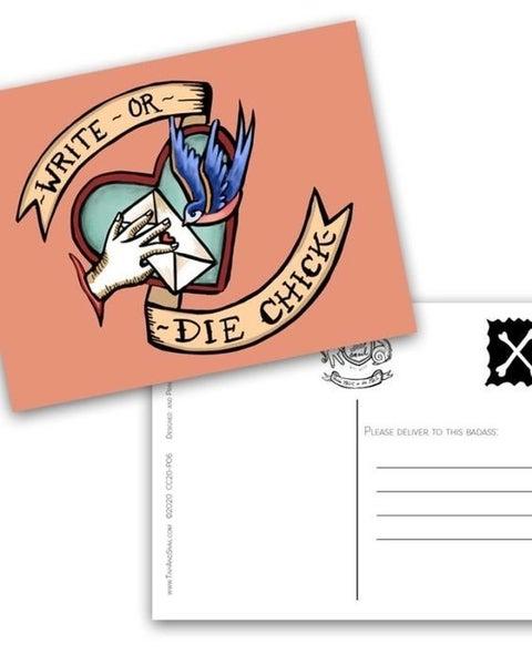 Write-Or-Die Chick - Postcard