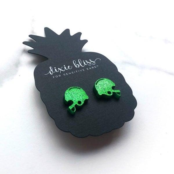 Green Football Helmet - Stud Earrings