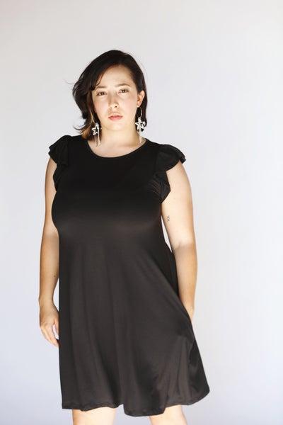 Black Essential Ruffle Tank Swing Dress w/Pockets - Reg/Plus