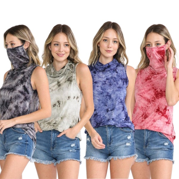 Tie-Dye Cowl Neck Tank Top with built-in face protector