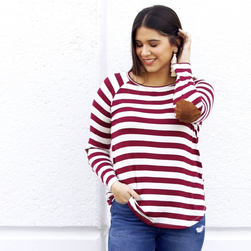Wine & Ivory Striped Long-Sleeve with Elbow Patches