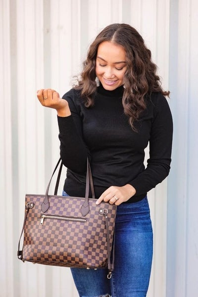 The Tory - Checkered Handbag + Clutch in Brown