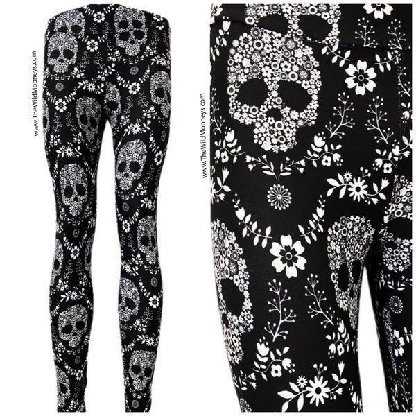 Flower Power Skull Leggings