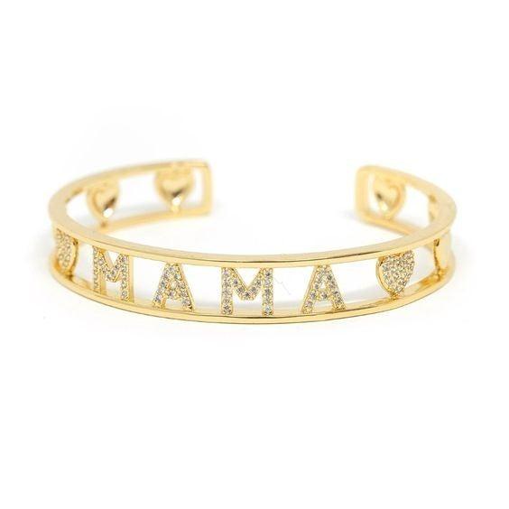 MAMA - Gold & Crystal Heart Bracelet Cuff