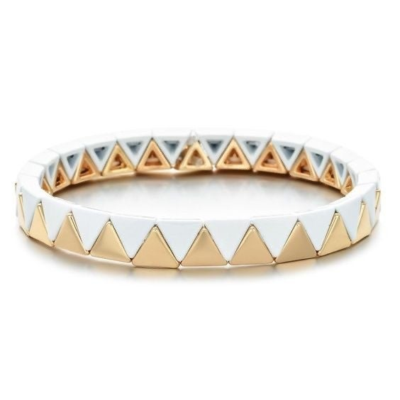 White & Gold Enamel Tile Stretch Bracelet
