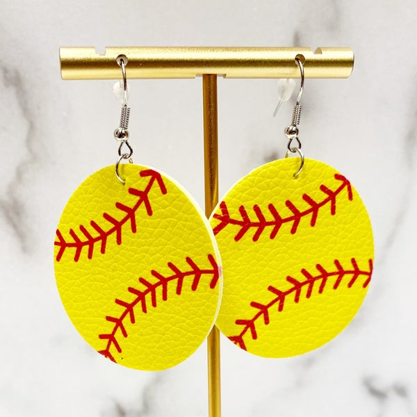 Nothin' Soft About It - Lightweight Softball Leather Earrings