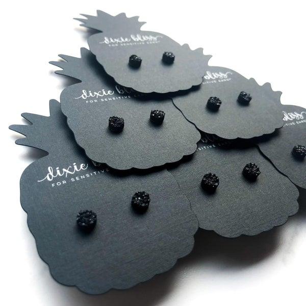 Black 6mm Micros - Stud Earrings