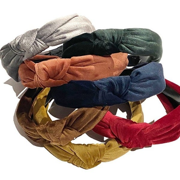 The Greta - Crushed Velvet Knot Comfort Headband
