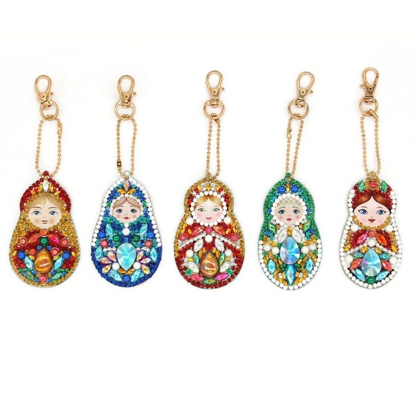 DIY Nesting Doll Keyring Diamond Painting - 5 Pack!