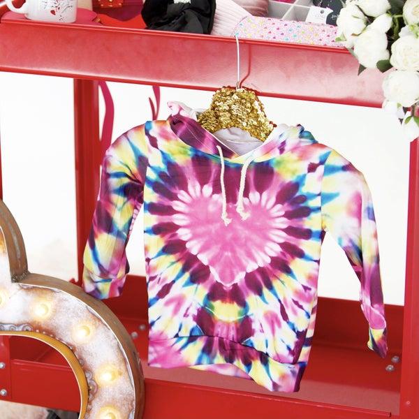 Kids - Tie-Dye Heart Hoodie Sweatshirt