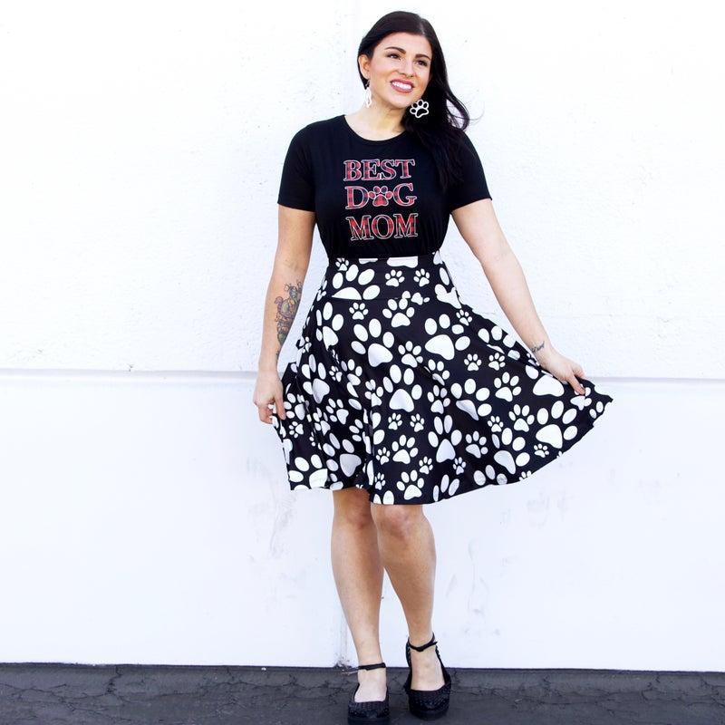 Kids + Adult - Paw Print - The Maddie Yoga Waistband Skirt - Reg/Plus
