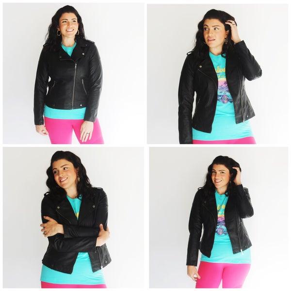 Katie's FAVE Stretch Side Vegan Faux-Leather Moto Jacket