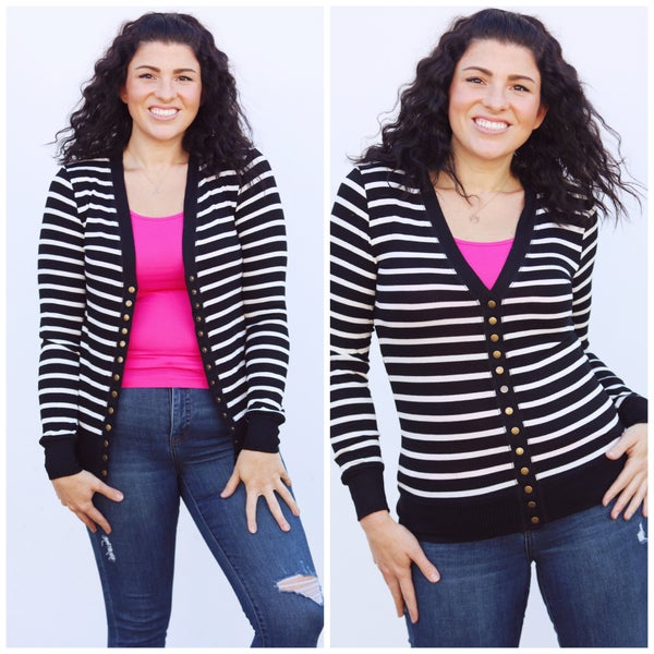 Black with White Stripes Snap-Button Cardigan