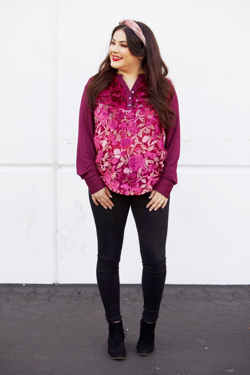 Crush On You - Burnout Velvet Blouse - 2 Colors - Reg/Plus
