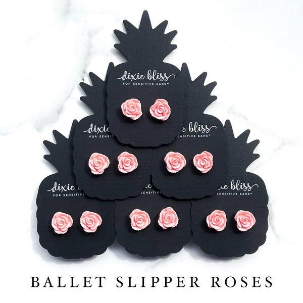 Ballet Slipper Roses - Stud Earrings