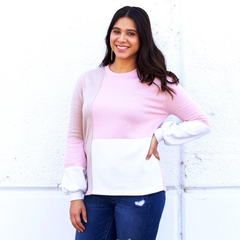 The Lauren - Tan & Pink Bell Sleeve Pullover - Long Sleeve / Crew Neck - JLB