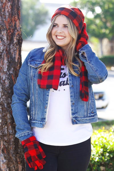 Buffalo Plaid - 3 Piece Stay Warm Set - Hat, Scarf, & Gloves