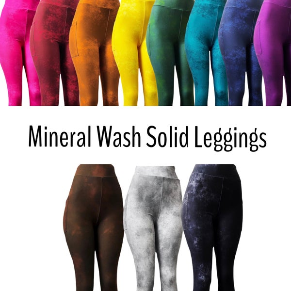 Mineral Wash Solids - Leggings w/Pockets