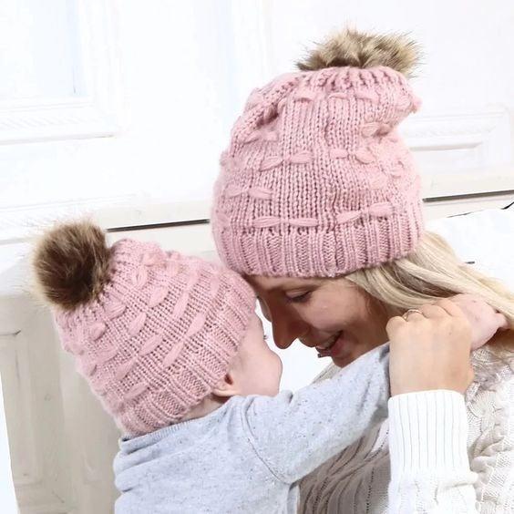 Mommy & Me Matching Pom Pom Beanie Set