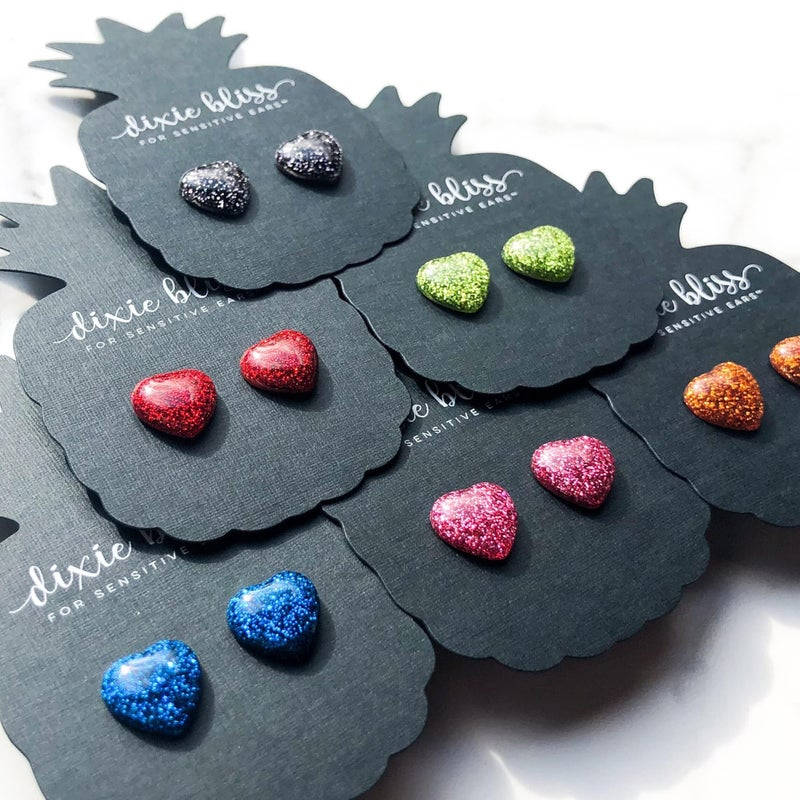 Glitter Dot Hearts - Stud Earrings