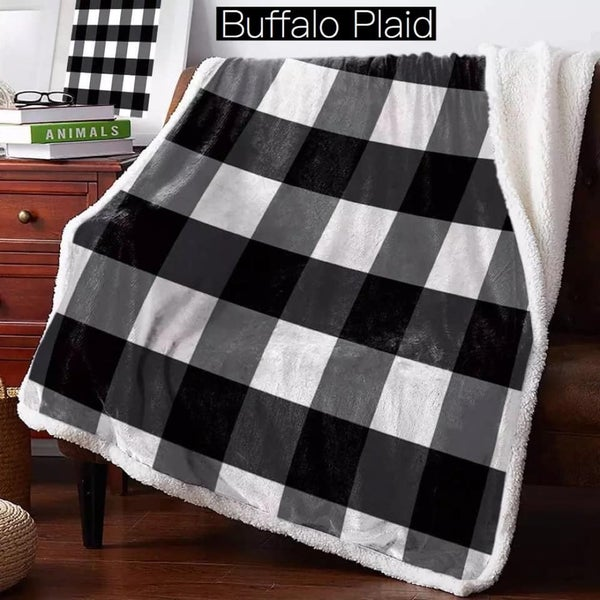 Black & White Buffalo Plaid - Luxe Plush Blanket