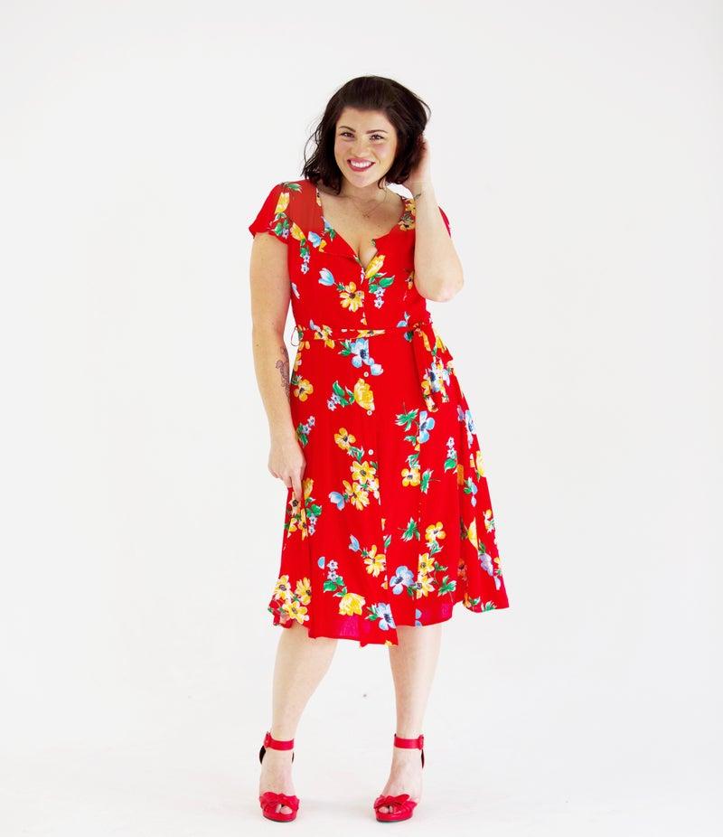 Summer Starlet Waist-Tie Button Front Dress