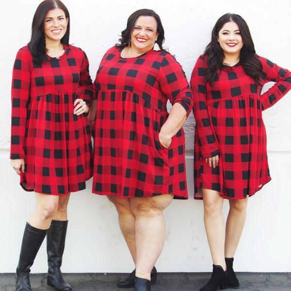 The Lumberjack Swing Dress - Buffalo Plaid - Reg/Plus