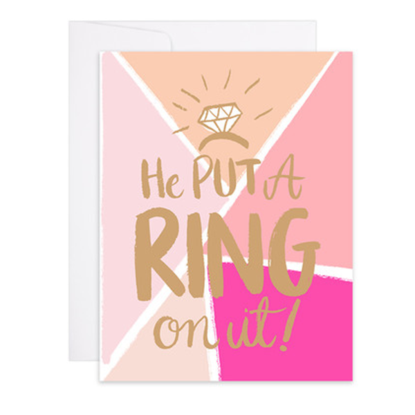 Put A Ring On It Letterpress Gold Foil Card