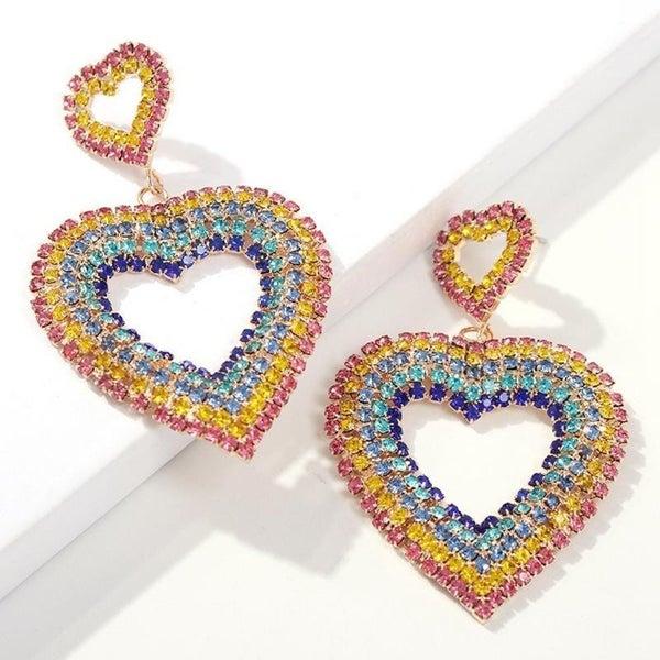 Rainbow Rhinestone Heart Earrings