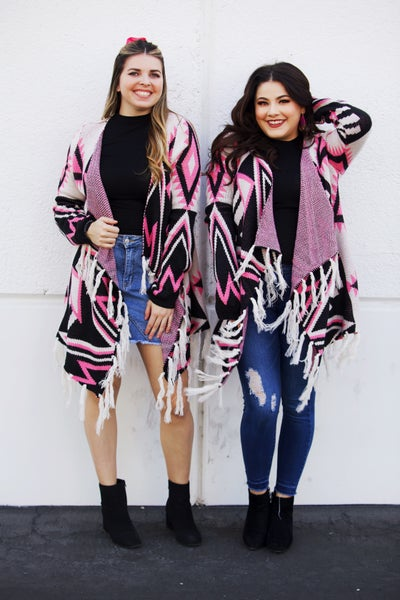 Pink and Black Aztec Drape Cardigan with Fringe Hem