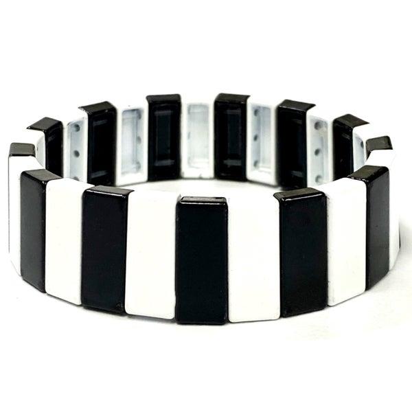 Chunky Black and White Enamel Tile Bead Stretch Bracelet