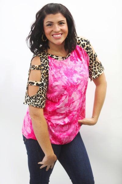 Hot Pink Tie Dye & Leopard Cold Shoulder Knit Top