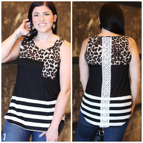 Leopard Black Stripes Color Block Tank Top with Lace Back