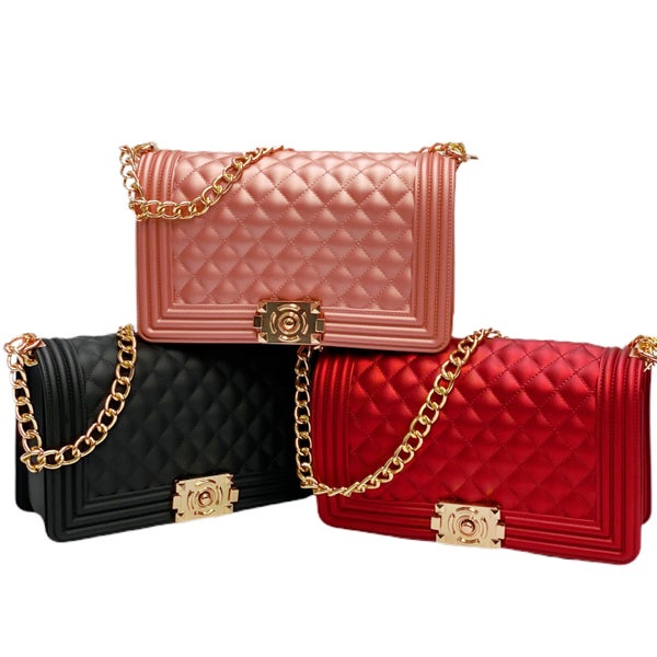 Quilted Jelly Convertible Handbag with Lock Closure