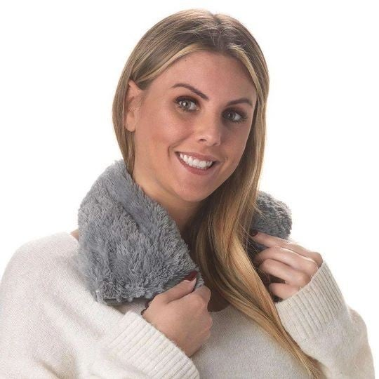 Charcoal Faux-Fur - Heatable/Freezable Neck Wrap - Warmies