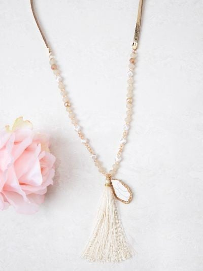 Gold Tone & Ivory Beaded Necklace with Stone & Tassel Pendant