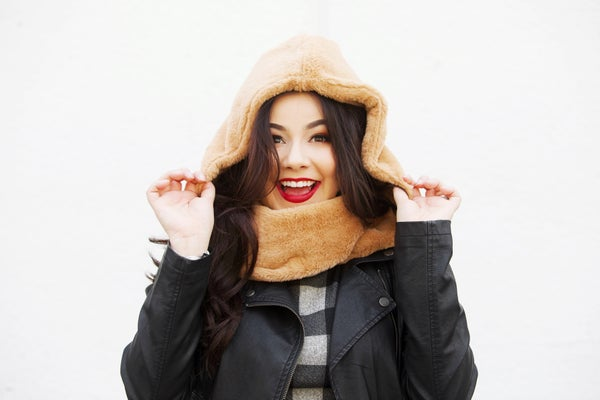 Super Soft Faux-Fur Hooded Infinity Scarf - Camel