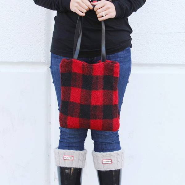 Buffalo Plaid - Teddy Bear Feel - Tote Bag