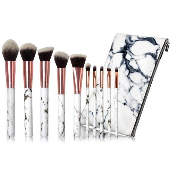 Marble Handle 10-piece Makeup Brush Set