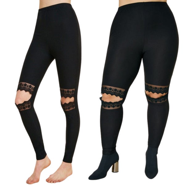 Solid Black Lace Knee Slit Leggings - Reg/Plus