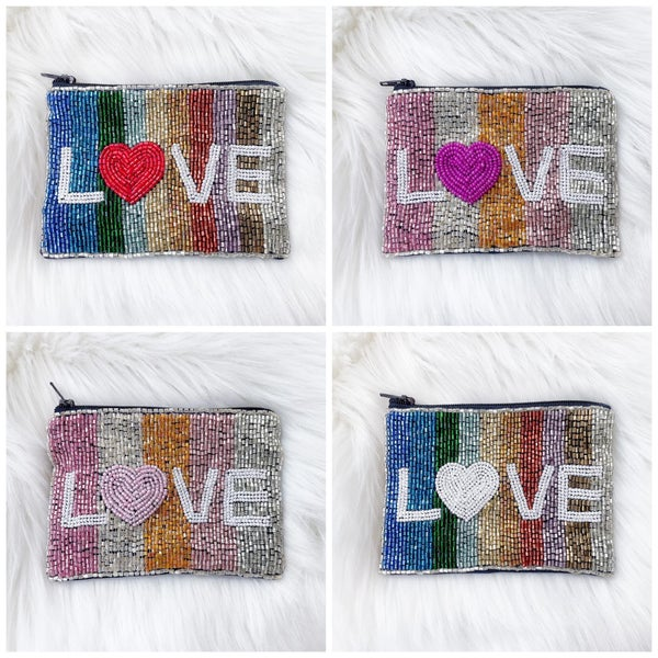 Love - Beaded Coin/Card Purse - 4 Color Options