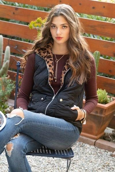 Reversible Faux Fur Quilted Vest