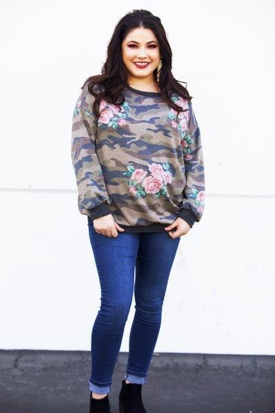 Camo Floral DreamCloud Sweater Top