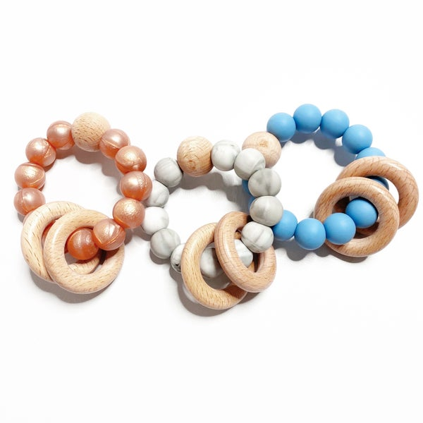 Silicone Teething Ring - Classic Round Rattle Ring