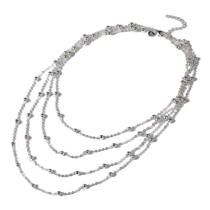 4-Layer Silver Ball Necklace