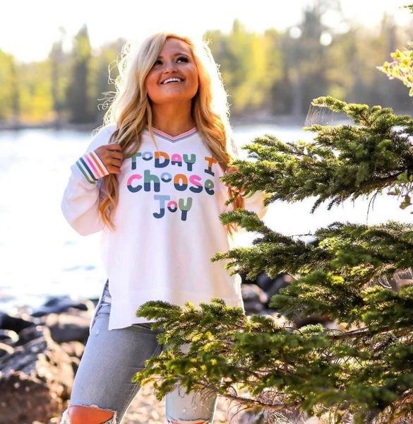 Choose Joy - Corded Fleece Pullover V-Neck Sweater - Reg/Plus - JLB